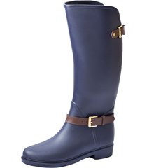 botas lluvia impermeable eternity twin buckle bottplie -  azul / cafe