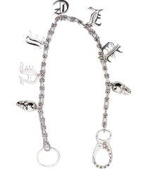 philipp plein skull-charm key chain - silver