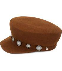 maison michel button-embellished cap - brown