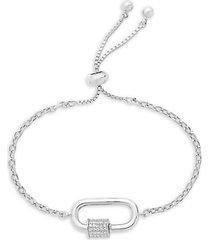 rhodium-plated & cubic zirconia carabiner bolo bracelet