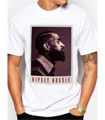 hombres summer hip hop style print print camiseta blanca de manga corta