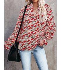 camicetta a maniche lunghe con scollo a v a forma di fungo con stampa floreale per donna