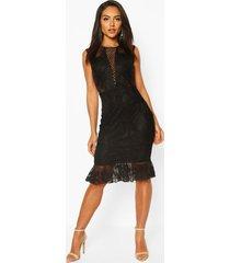 gehaakte kanten midi-jurk met ruche zoom, zwart