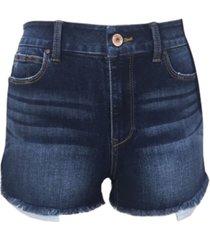 rewash juniors' curvy-fit high rise frayed denim shorts