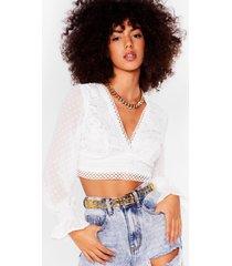 womens a little less talk chiffon cropped blouse - white