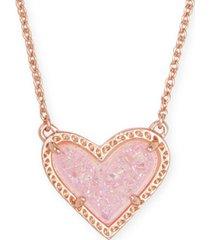 "kendra scott stone heart pendant necklace, 15"" + 2"" extender"