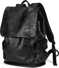 mochila/ cuero de múltiples usos vintage para hombres-negro