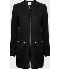 abrigo jacqueline de yong besty pocket zip negro - calce regular