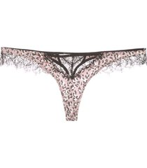 kiki de montparnasse leopard-print silk thong - purple