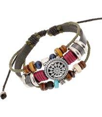 braccialetto d'epoca braccialetto in pelle ceretta corda di cera girasole girasole a più strati per gli uomini