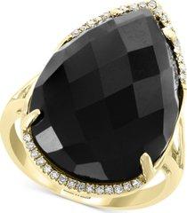 effy onyx (22 x 15mm) & diamond (1/10 ct. t.w.) statement ring in 14k gold