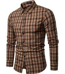 mens casual business plaid turndown manica lunga qualità sottile camicia