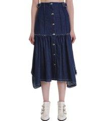 chloé skirt in blue denim