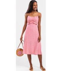 beth ruffled sleeveless midi dress - pink