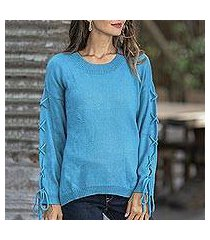 cotton pullover, 'cool cross in cerulean' (thailand)
