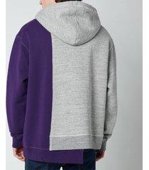 dsquared2 men's heritage tri hoodie - grey melange/purple - xxl