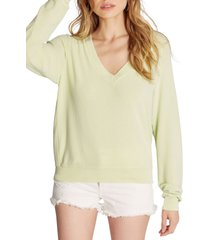 women's wildfox deep v-neck baggy beach jumper pullover, size small - green
