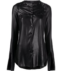 ann demeulemeester faux leather buttoned shirt - black