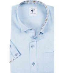 korte mouwen overhemd lichtblauw gestreept r2