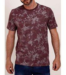 camiseta estampada manga curta full surf masculina bordô
