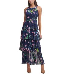 tommy hilfiger chiffon tiered halter maxi dress