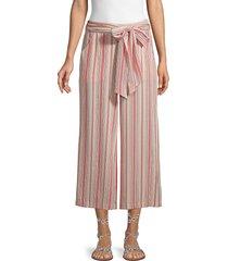 max studio women's striped wide-leg pants - navy - size l
