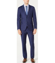 tommy hilfiger men's modern-fit th flex stretch navy/burgundy plaid suit