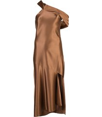 cushnie asymmetric off shoulder dress - brown