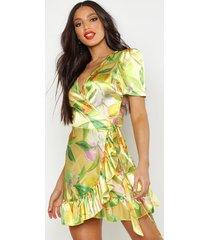 satin fruit print wrap dress, yellow
