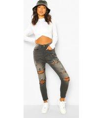 extreem versleten skinny jeans, washed black