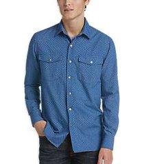construct blue dotted shirt jacket