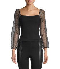 bcbgeneration women's knit puffed-sleeve cropped top - black - size s