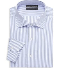 saks fifth avenue men's slim-fit stripe cotton dress shirt - white - size 17.5 34
