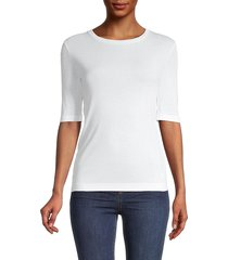 vince women's elbow-sleeve pima cotton top - optic white - size xs