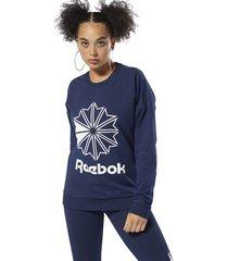 sweater reebok classic classics badstof big logo sweatshirt met ronde hals