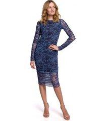 lange jurk makover k065 mesh jurk met ruches aan de zijkanten - model 1
