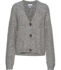 soft wool knit cardigan gebreide trui cardigan grijs ganni