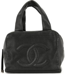 chanel pre-owned 2005 mesh panel cc tote bag - black