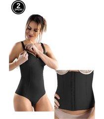 kit body amamentação e cinta modeladora abdominal tivesty preto