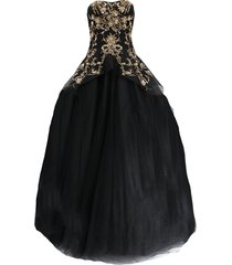 gold embroidered tulle gown