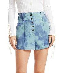 3.1 phillip lim women's tie-dye denim shorts - light cognac - size 0