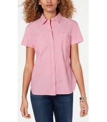 tommy hilfiger striped camp button-up shirt