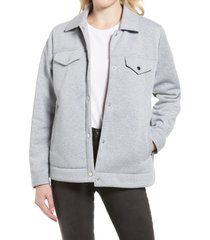 french connection sweatshirt jacket, size x-small in lt. heather grey at nordstrom