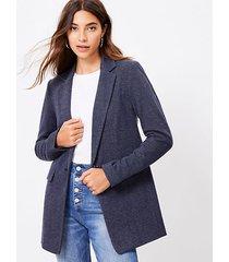 loft herringbone long knit blazer