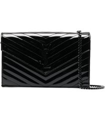 patent leather wallet on chain