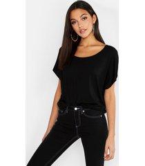 tall basis-t-shirt met diepe hals, zwart