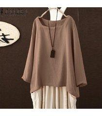 zanzea mujeres corte cuadrado de cuello de manga larga sólido tapas de la camisa de la blusa de gran tamaño tee -beige