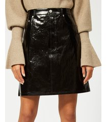 helmut lang women's patent leather five pocket skirt - black - us 6/m - black