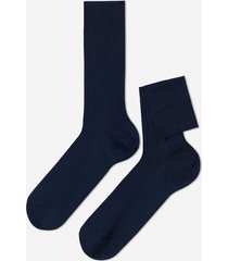 calzedonia short ribbed egyptian cotton socks man blue size 42-43