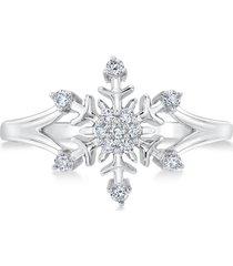 1/4ctw diamond 14k gold disney frozen snowflake engagement fashion gift ring